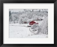Framed Farm In The Snow
