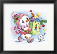 Framed Snow Girl with Gifts