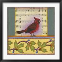 Framed Cardinal on Music Notes 1