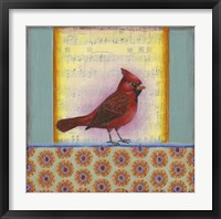 Framed Cardinal on Music Notes 2