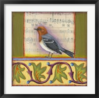 Framed Bird on Musical Notes 1