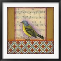 Framed Bird on Musical Notes 2