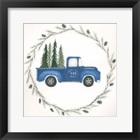 Framed Old Blue Truck