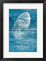Framed Blue Wood Jellyfish