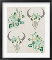 Framed Animal Skull Botanicals Pattern