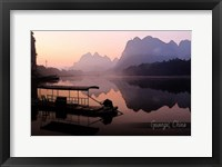 Framed Vintage Boat on River in Guangxi Province, China, Asia
