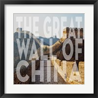 Framed Vintage The Great Wall of China, Asia, Large Center Text
