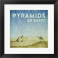 Framed Vintage Pyramids of Giza with Camels, Egypt, Africa