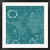 Framed Blueprint World Map, teal