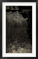 Framed Gold Foil City Map San Francisco on Black