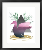 Framed Pink Ombre River in Duck Silhouette