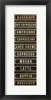 Framed Coffee List