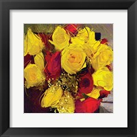 Framed Yellow And Red Roses