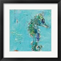Framed Little Seahorse Blue