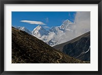 Framed Everest Base Camp Trail snakes along the Khumbu Valley, Nepal
