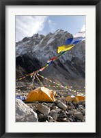 Framed Tents of mountaineers along Khumbu Glacier, Mt Everest, Nepal