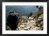 Framed Trekkers on the trail towards Namche Bazaar, Khumbu, Nepal