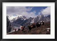 Framed Yak Drivers Above the Kangshung, Tibet