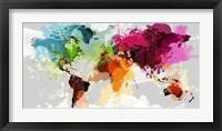 Framed Colourful World Map