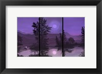 Framed Swan Lake In Pink And Purple