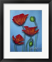 Framed Red Poppies on Blue