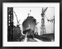 "Framed Lancement du Navire croiseur ""Zara"",1930"