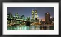 Framed Brooklyn Bridge and Twin Towers at Night