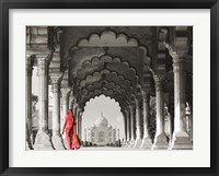 Framed Woman in traditional Sari walking towards Taj Mahal (BW)