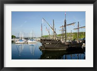 Framed Mississippi Reproductions of Columbus ships the Nina and Pinta