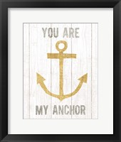 Framed Beachscape III Anchor Quote Gold Neutral