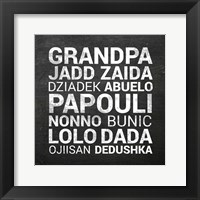Framed Grandpa Various Languages - Chalkboard