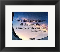 Framed Simple Smile - Mother Teresa Quote