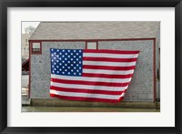 Framed Massachusetts, Nantucket, Flag on boathouse