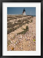 Framed Nantucket Shell in front of Brant Point lighthouse