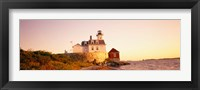 Framed Lighthouse at the coast, Rose Island Light, Newport, Rhode Island, New England