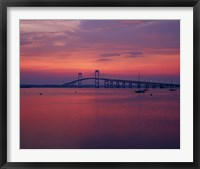 Framed Newport Bridge at sunset, Newport, Rhode Island