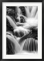 Framed New Hampshire. Black and White image of waterfall on the Swift River, Rocky Gorge, White Mountain NF
