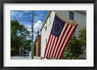 Framed New Hampshire, Portsmouth, Strawberry Banke Historic Area, building with US flag
