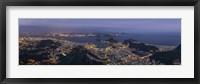 Framed Aerial view of city from Christ the Redeemer, Corcovado, Rio de Janeiro, Brazil