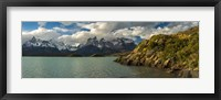 Framed Lake Pehoe, Torres de Paine National Park, Patagonia, Chile