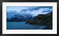 Framed Lake with Mountain, Lake Pehoe, Torres de Paine National Park, Patagonia, Chile
