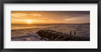 Framed View of Pacific ocean at dusk, Playa Waikiki, Miraflores District, Lima, Peru