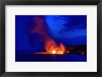 Framed Lava Flowing Into Ocean, Hawaii Volcanoes National Park, Big Island, Hawaii