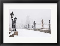 Framed Charles Bridge in Winter, Prague
