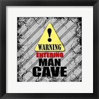 Framed Warning Man Cave