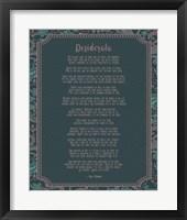 Framed Desiderata Floral Frame Turquoise
