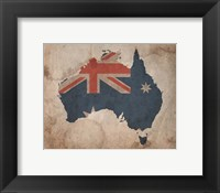 Framed Map with Flag Overlay Australia