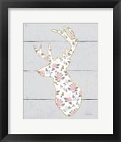 Framed Floral Deer II