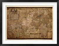 Framed Map of the World, c.1500's (antique style)