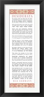 Framed Desiderata Bus Roll Red Pattern